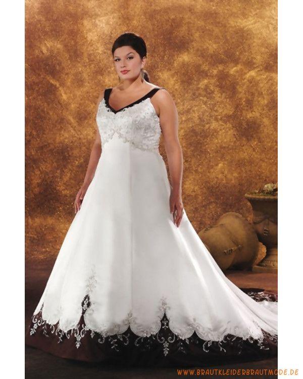 2013 Große Brautmode aus Satin V-Ausschnitt und bestickter A-Linie Rock mit langer Schleppe