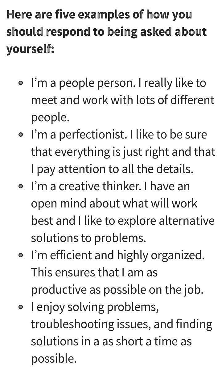 How to describe yourself for a job interview, Resumes in