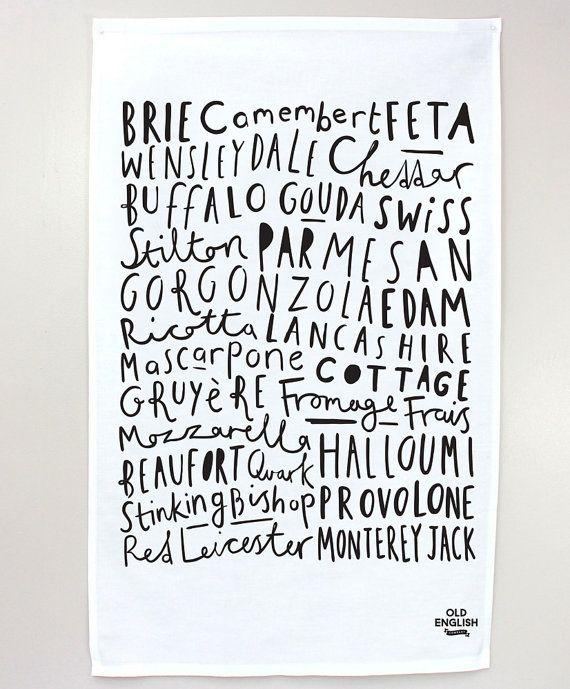 Tea Towel Cheese names Kitchen Tea Towel by OldEnglishCo on Etsy