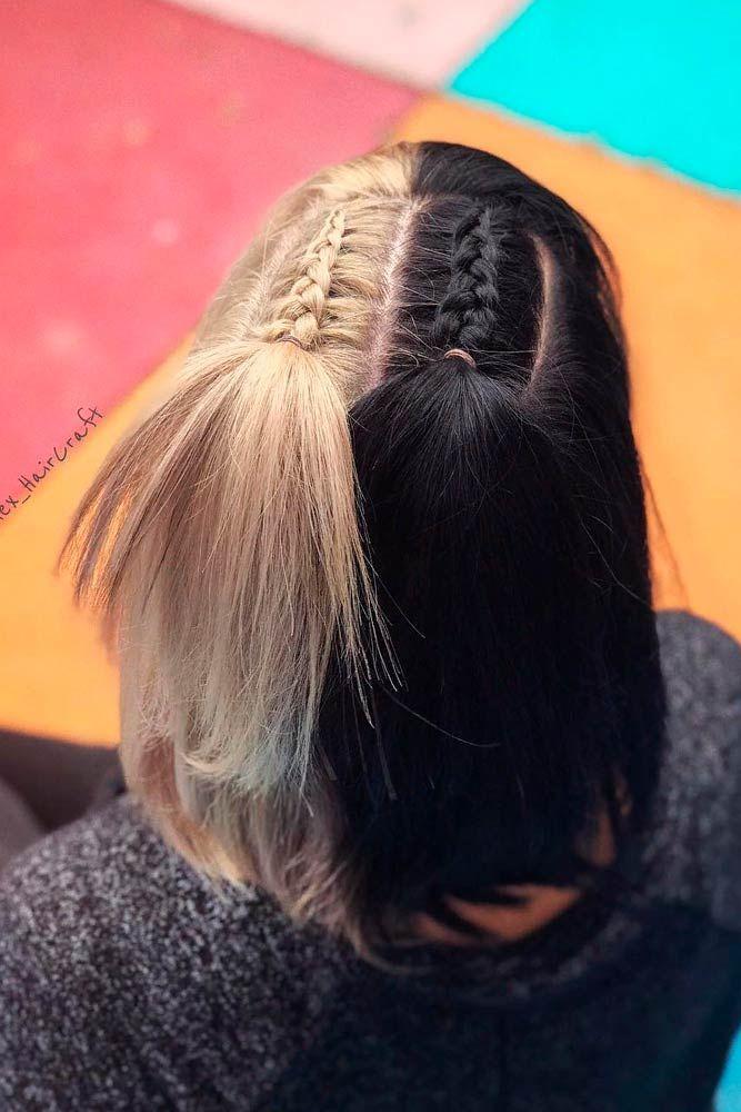 Cruella Deville Hair Split Dyed Hair Half Colored Hair Hair Inspo Color