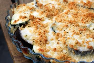 Delicious recipe for baked eggplant with creamy cheese sauce. - Lauren Aloise/Spanish Sabores
