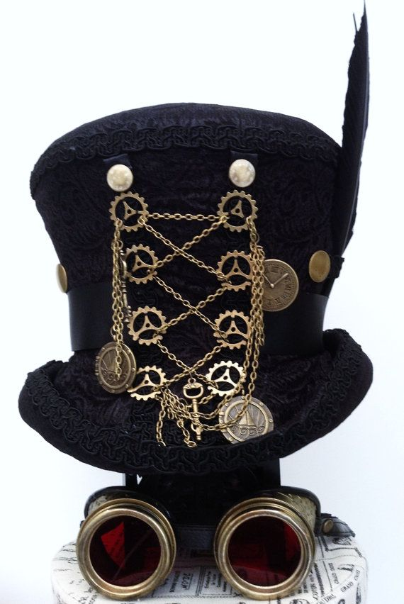 Black Steampunk top hat Mr Brass Ratchet Raven