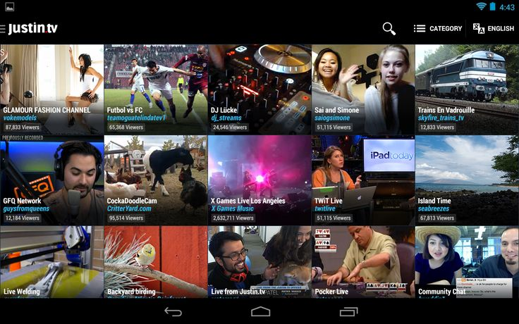 Video App UI Justin.tv - screenshot