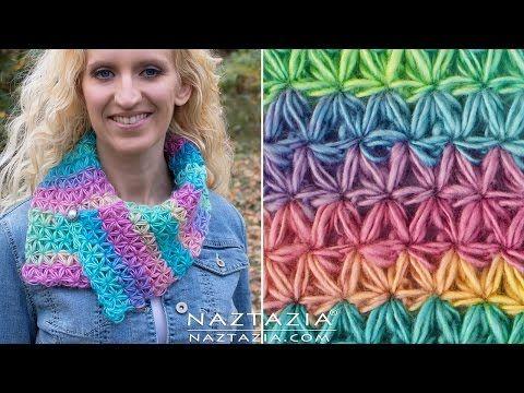 DIY Tutorial - How to Crochet Oh My Stars Scarf - Puffed Flower Star Stitch Bufanda - YouTube