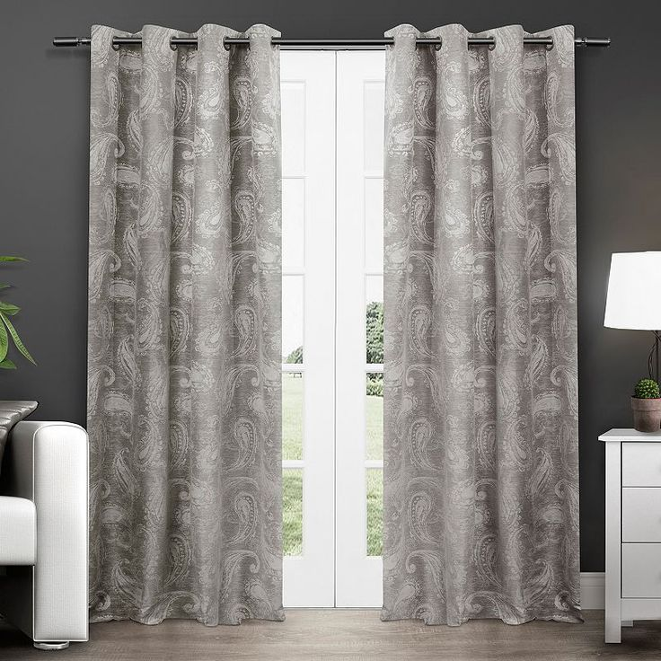 Exclusive Home 2-pack Bangalore Paisley Thermal Curtains - 54'' x 84'', Grey