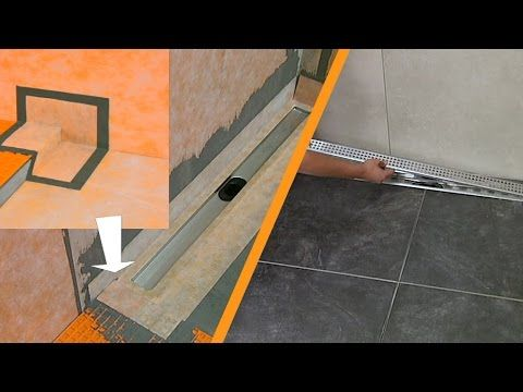 Tiling a shower with linear drainage Wall installation - YouTube