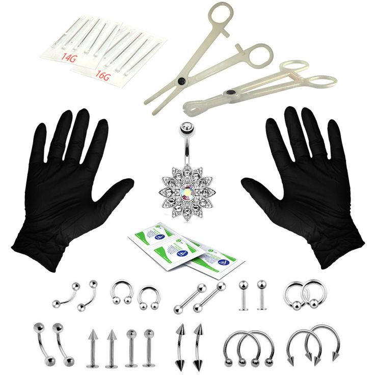 BodyJ4You® Body Piercing Kit 16G 14G Jeweled Flower Belly Tongue Tragus Earring 35 Pieces
