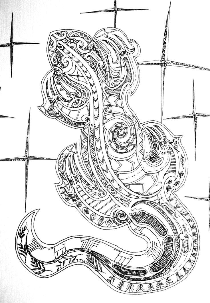 """Tāwera Tahuri """"Kaitiaki"""" 2012 Ink on Paper"""