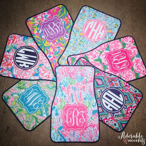 Monogrammed+Lilly+Pulitzer+Inspired+Car+Mats+–+Adorable+Accents