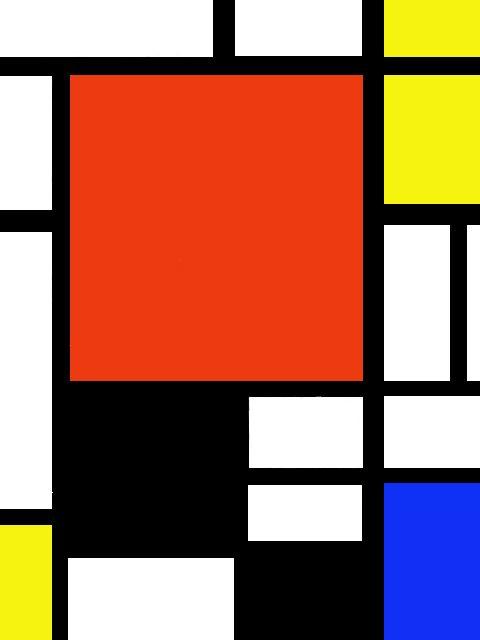 TEGAKI Blog - モンドリアン「赤、青、黄、と黒のコンポジション」 - シルバーポイント's Blog