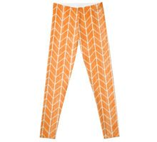 orange watercolor herringbone pattern leggings