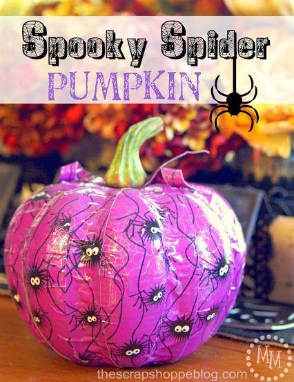 DIY Halloween Decor: Spooky Spider Pumpkin (#StickOrTreat) using tape