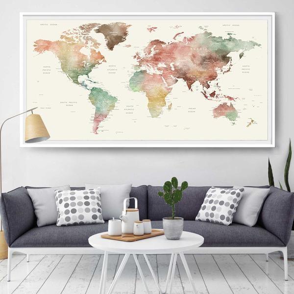 World Map Wall Art, World Map Watercolor, World Map, Wall Decor, Watercolor Print, World Map Poster, Travel Map, Travel Gift Poster (L111)