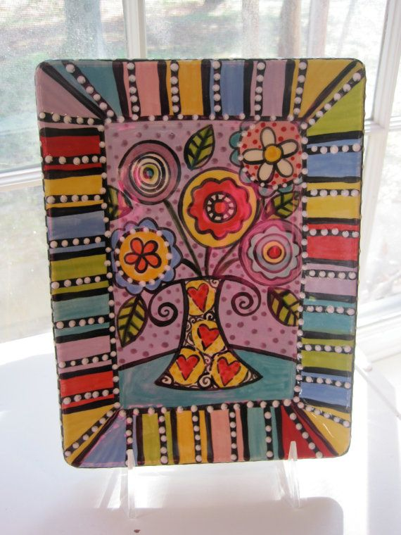 Rectangle+Plate+With+Funky+Flowers+And+Striped+by+shannondesigns