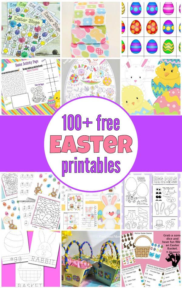 100+ (mostly) free Easter Printables including Easter language activities, Easter math worksheets, Easter fine motor activities, Easter crafts, Easter games, Easter coloring pages, and much more! You are sure to find something for the kids among this HUGE collection of Easter printables! || Gift of Curiosity