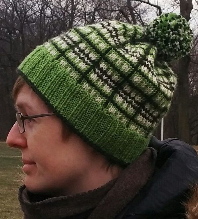 Free Knitting Pattern for I'm Glad It's Plaid Hat - Slouchy hat with stranded and striped colorwork forming a plaid design. Designed by Jane Roberts.Pictured projectbyrebekafish