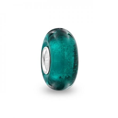 Bling Jewelry Glitter Teal Blue 925 Silver Murano Glass Bead Pandora Compatible