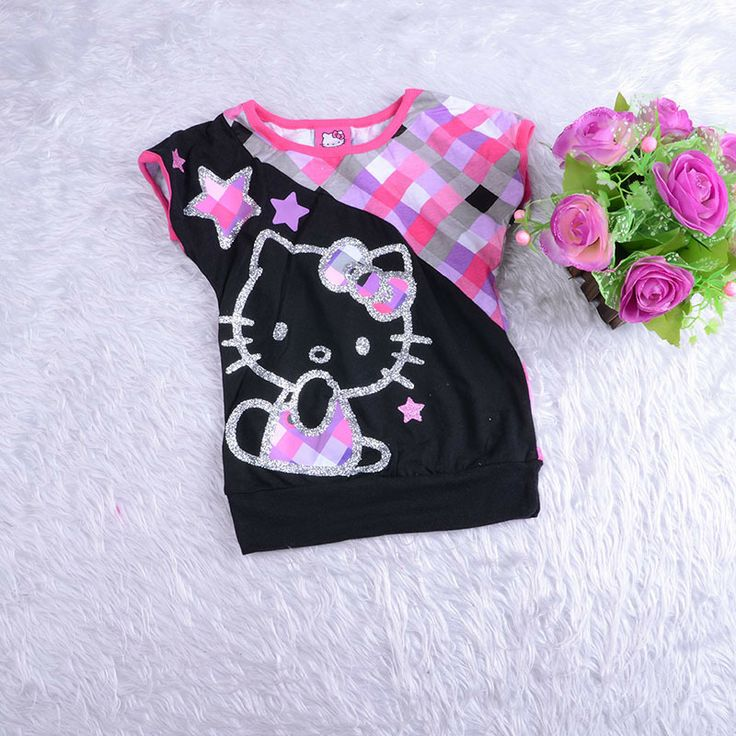 Girls T-shirt  2014 spring new hello kitty girl  Plaid Cute cartoon T shirt  round neck 3T 4T 5T retail US $5.60