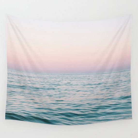 Pastel Sea Wall Tapestry Ocean Nautical Surf by NatureCityCo