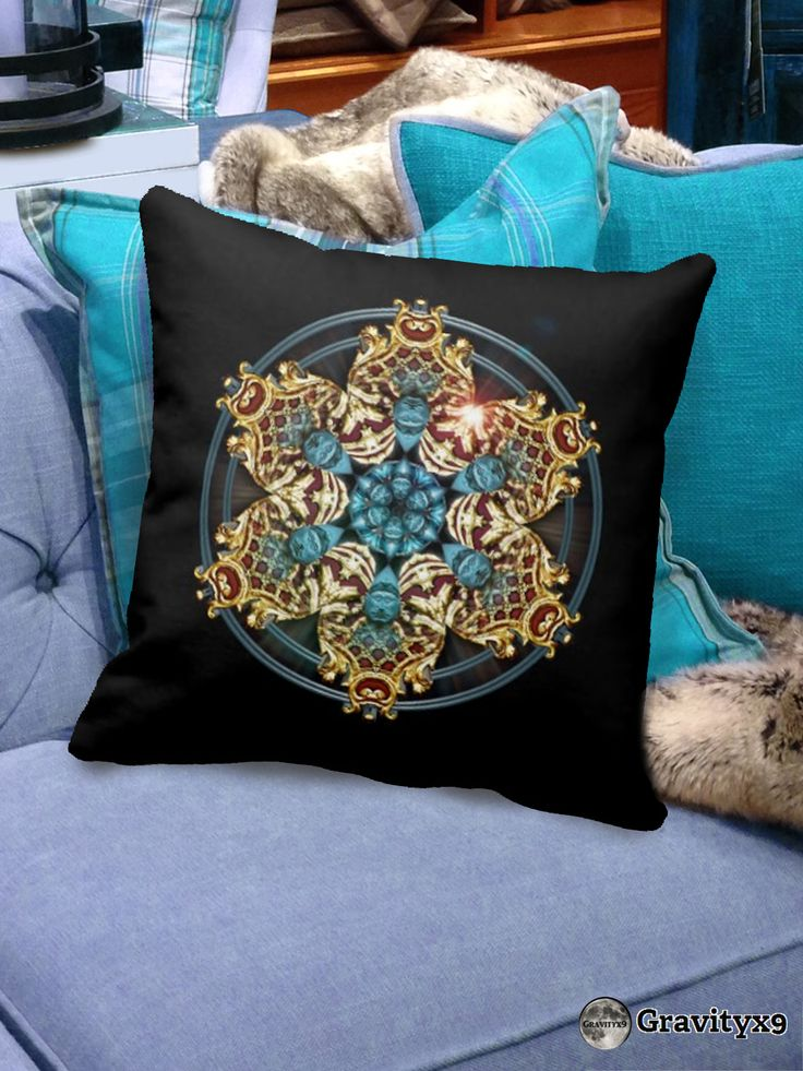 Elegant Brass Colored Design on this Blue on Black Throw pillow by #Abstractedness at #Zazzle and #Gravityx9 Designs  #HomeDecor