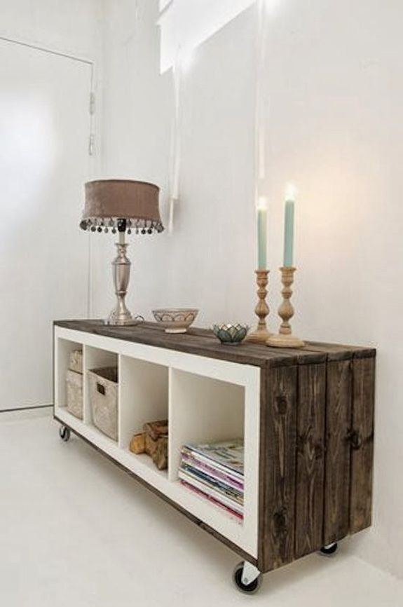 Expedit bookcase wainscoted with wood and pair of sturdy wheels. - Ikea hacks (D.I.Y.) |