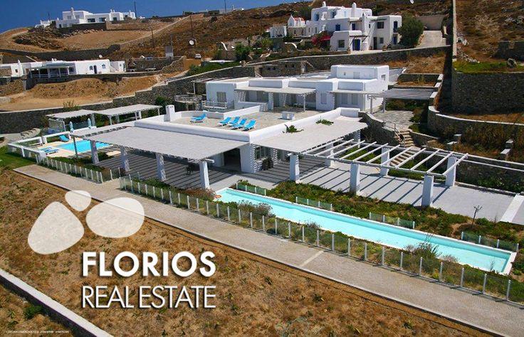 Spacious & Luxurious Villa for Sale at Fanari, Mykonos, island Greece. Living area:1300sq.m. Guests:Up to 30, Bedrooms:15 Bathrooms:15, Land Area: 13000 sq.m. FL1452 http://www.florios.gr/en/mykonos-property/14.html