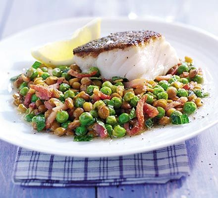 Braised peas with bacon, lentils & cod recipe - Recipes - BBC Good Food