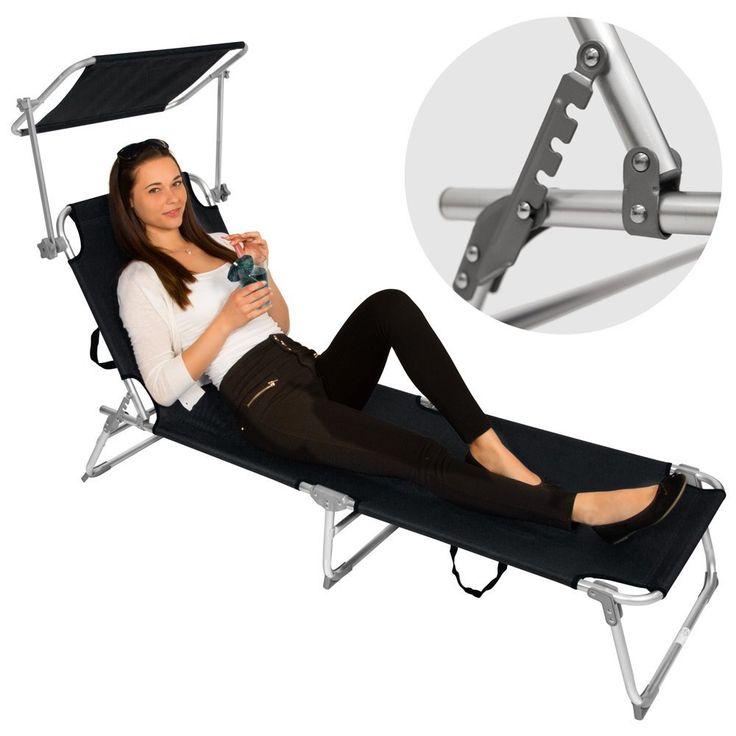 TecTake 2x Chaise longue bain de soleil en aluminium pliable avec parasol pare soleil noir: Amazon.fr: Jardin