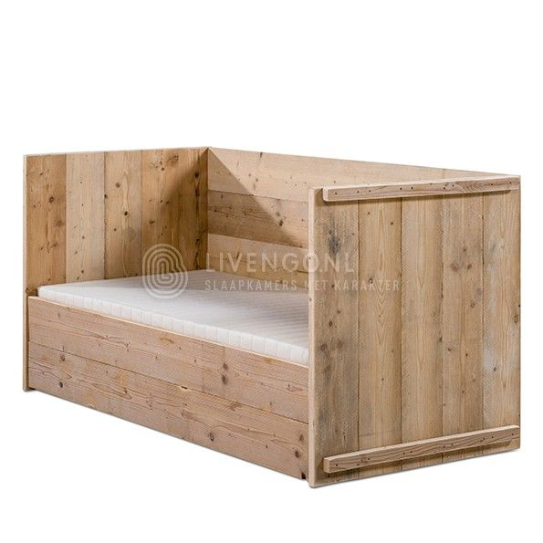 Steigerhout kajuitbed | scaffold wooden bunkbed | http://www.livengo.nl/steigerhouten-bed/steigerhouten-eenpersoonsbedden/steigerhouten-kajuitbed | #studentenbed #tienerbed #steigerhout #livengo