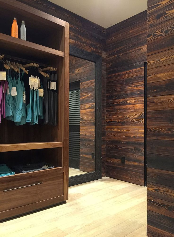 NY-based Axis Mundi Design, in collaboration with the founder of Yogasmoga, selected reSAWN's KINOKO shou sugi ban charred reclaimed hemlock and TORA shou sugi ban charred cypress for the newest Yogasmoga location in Fashion Island.