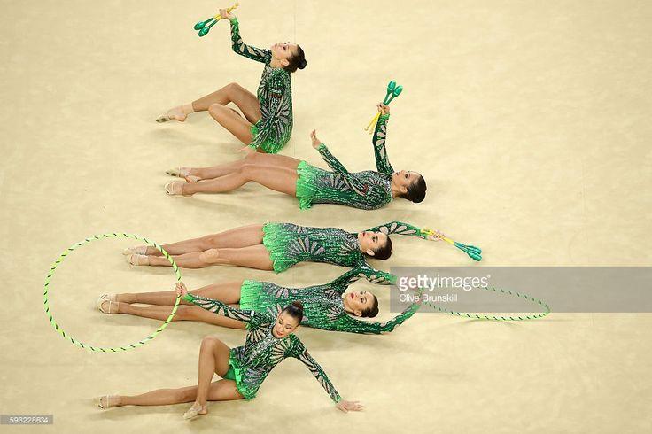 Reneta Kamberova, Lyubomira Kazanova, Mihaela Maevska, Tsvetelina Naydenova and Hristiana Todorova of Bulgaria compete during the Group All-Around Final on Day 16 of the Rio 2016 Olympic Games at Rio Olympic Arena on August 21, 2016 in Rio de Janeiro, Brazil.