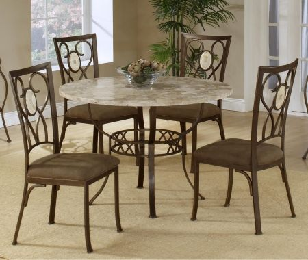 Image of 4815DTRNBCOV Brookside 5 PC Dining Set with Round Dining Table + 4 Dining Chairs in Brown Powder Coat
