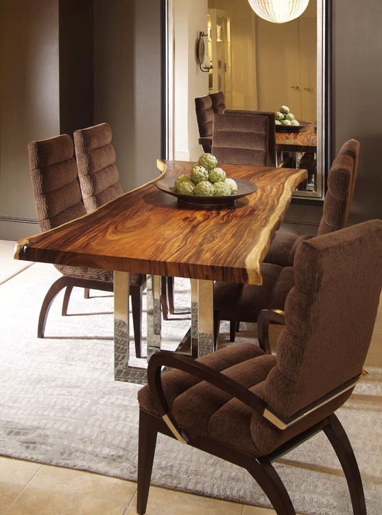 LOVE The Mix Of The Wood Slab Table Top With The Crisp Chrome And Elegant  Side