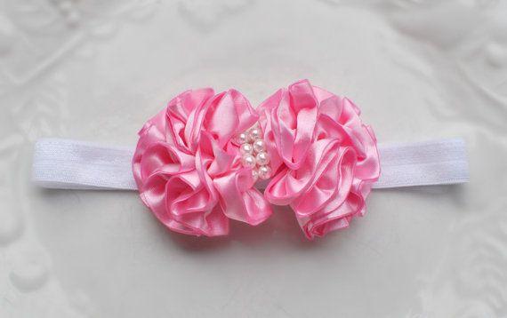 Rosa n' blanco SHABBY CHIC Puff rizado pelo por bellasbowtique2008