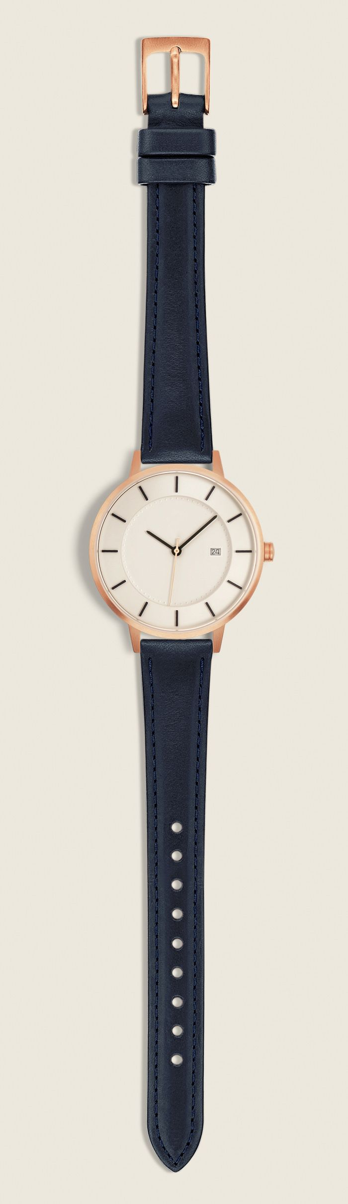 The Classic, 38mm, Rose gold/ Navy  Don't skive on quality. Linjer watches boast vegetable tanned leather straps, Swiss Quartz movement, and a gorgeous design