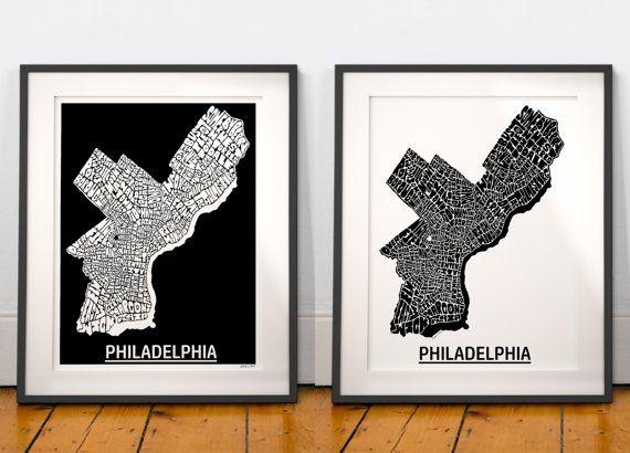 Philadelphia typography map art print, Philadelphia neighborhoods map, downtown Philadelphia art print, choose black or white background