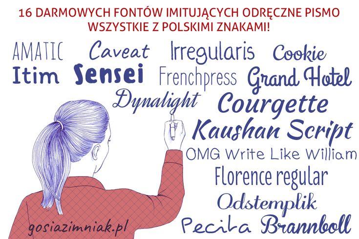 Darmowe fonty z polskimi znakami - fonty imitujące odręczne pismo. Idealne do artystycznych, swobodnych projektów!