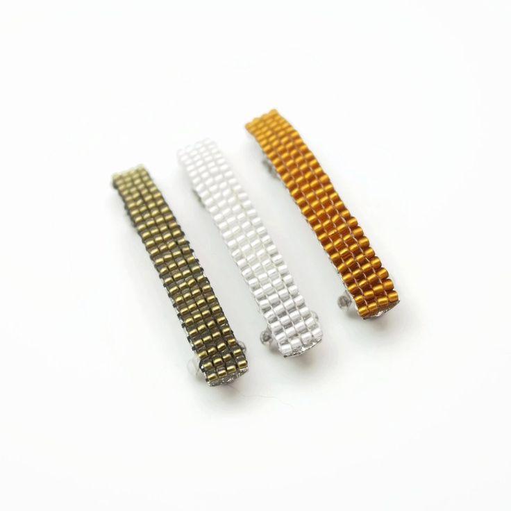 Small Barrettes, Gold, Silver, Topaz Color