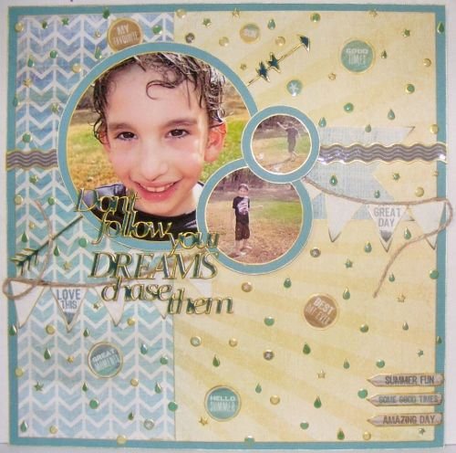 Don't follow your dreams, chase them - Scrapbook layout - Kaisercraft Sandy Toes collection - A2Z Scraplets chippy, 2 Crafty chippy ~Karyn Watton