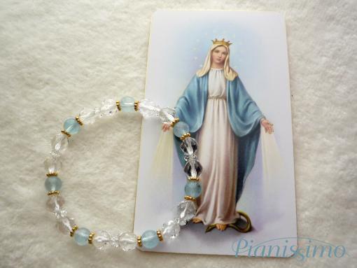 聖母マリア・ブレスレット/アクアマリン&水晶 - 天然石ブレスレットの【ピアニシモ】パワーストーンオーダーメイド