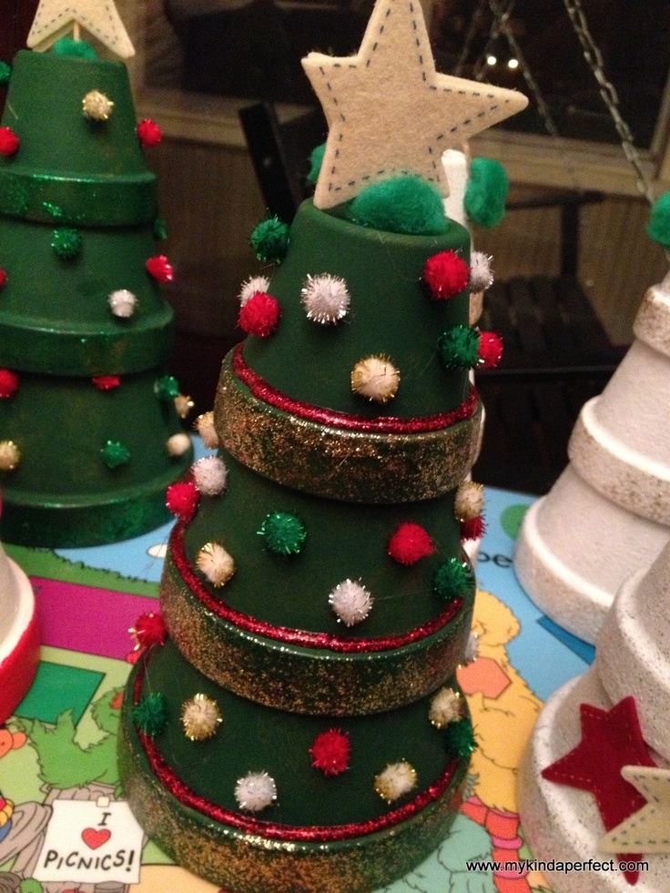 my kinda perfect: pinterest party! christmas tree flower pot craft!