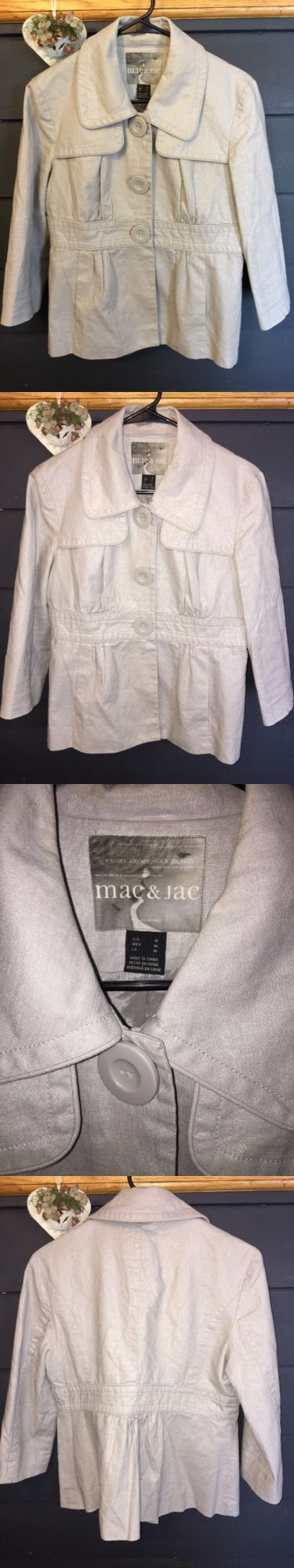 Women Coats And Jackets: Mac And Jac Womens Sz M Metallic Shimmer Gray Sliver Jacket Coat -> BUY IT NOW ONLY: $15 on eBay!