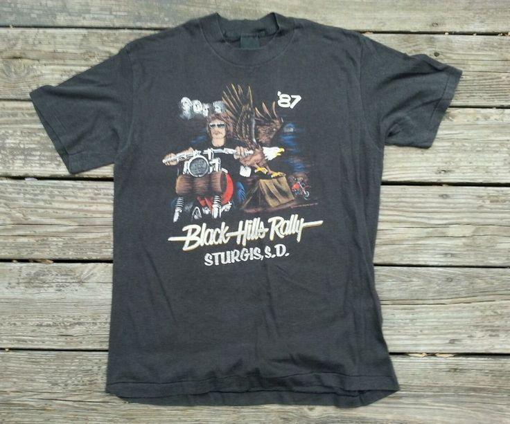 Vtg 1980s Sturgis Paper Thin Biker T Shirt Harley Davidson San Diego  #bikersonly #GraphicTee