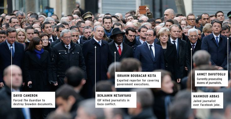 On Sunday, 3.7 million people gathered all over France to mourn the lives of those killed in last week's Charlie Hebdo attack. It was almost a moving collective stand for freedom of expression in the face of terror and fear--except that its most prominent supporters are much greater threats to a free press than terrorism.