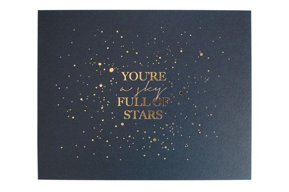 Stunning art print featuring a hand created splatter of stars hot foiled in gold onto 280gsm naturally textured paper, flood coated in