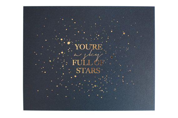 Coldplay letterpress lyrics You're a Sky by SevenSwansStationery