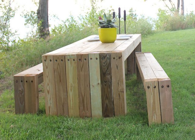 Find this Pin and more on DIY  Wood Boards Picnic Table. Best 25  Wooden outdoor table ideas on Pinterest   Patio tables