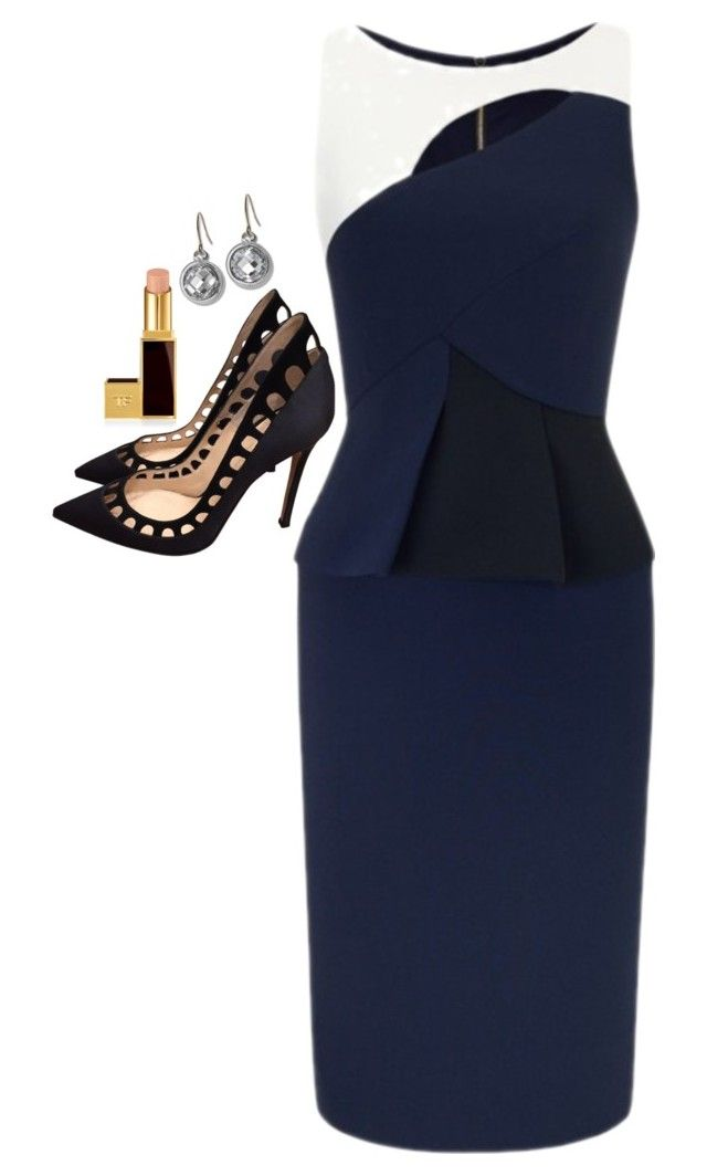 """""""Donna Paulsen Inspired Outfit"""" by daniellakresovic ❤ liked on Polyvore featuring Roland Mouret, Gianvito Rossi, Tom Ford and Monica Rich Kosann"""