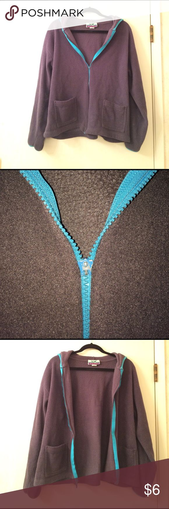 Vintage 90s Warm Fuzzy Zip Up Hooded Sweater Dark grey zip up hoodie with 2 front pockets and a teal blue zipper. There is also teal blue lining the hood. The tag with the size, material, and care instructions is completely faded. Fits like a large or extra large. The zipper pull broke off but the zipper still works! A very comfy cozy sweatshirt! SK Sport Tops Sweatshirts & Hoodies