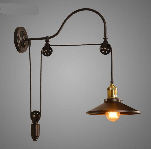 Polea De Elevación de la Lámpara de Pared Del Espejo de La Vendimia Edison Loft Industrial Para Cafe Club Bar(China (Mainland))